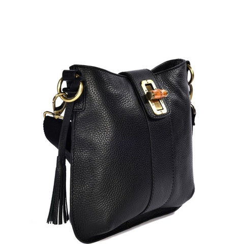 Loxwood Celia Bag with Bamboo Lock in Black