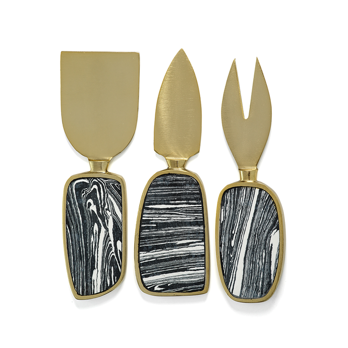 Black Marbleized Cheese Knives Set