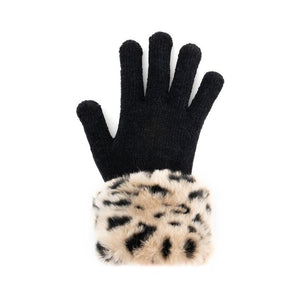 Cheetah Faux Fur-Trimmed Tech Gloves