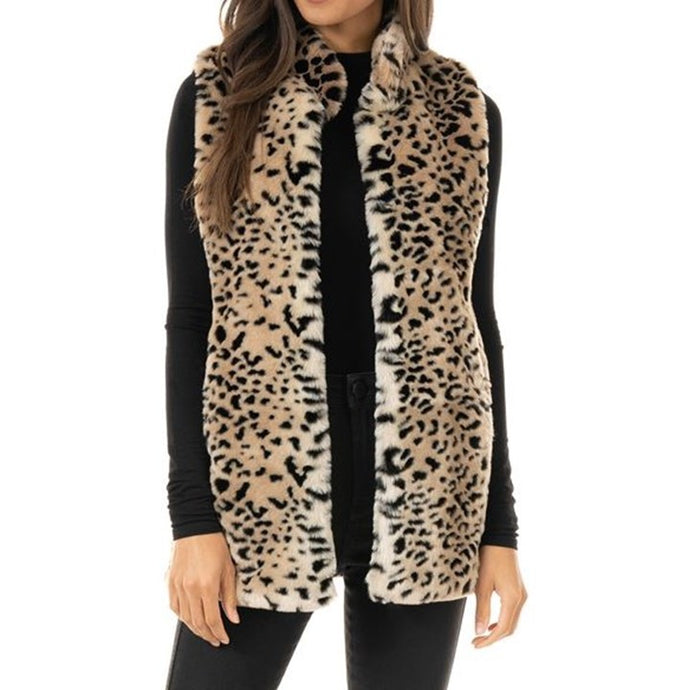 Cheetah Faux Fur Hook Vest