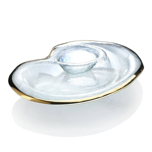 Annieglass Roman Antique Chip and Dip Bowl