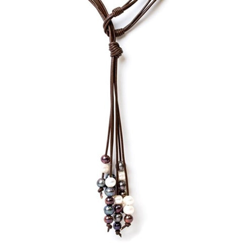 Cindy Ensor Leather Pearl Necklace