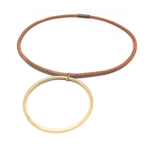 Erin Gray Design Thin Leather and Circle Pendant Choker