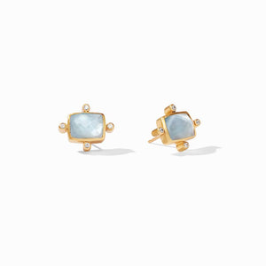 Julie Vos Clara Stud Earrings in Iridescent Chalcedony Blue