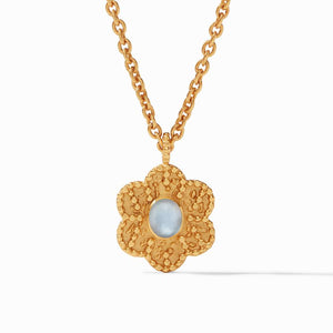 Julie Vos Colette Demi Pendant Necklace in Chalcedony Blue