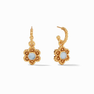 Julie Vos Colette Hoop and Charm Earrings in Chalcedony Blue