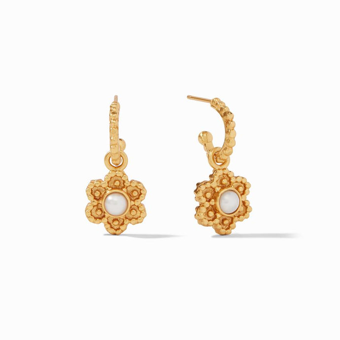 Julie Vos Colette Hoop and Charm Earrings in Pearl