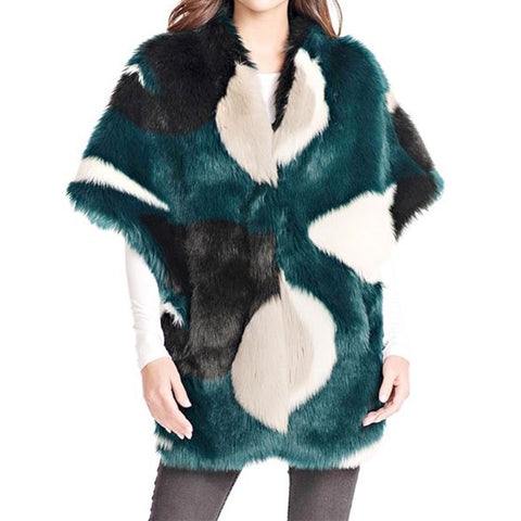 Teal Color Block Faux Fur Shrug