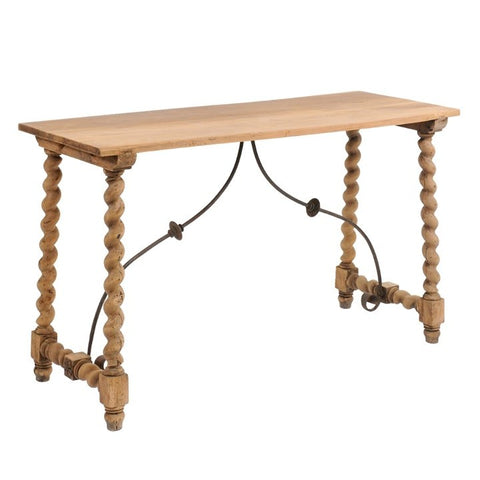 Oak Console with Turned Legs and Decorative Iron Trestle