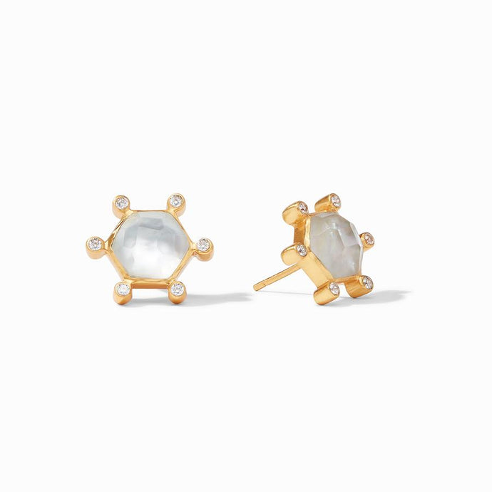 Julie Vos Cosmo Stud Earrings in Clear Crystal