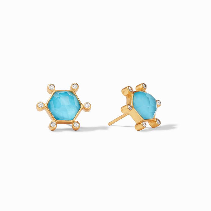 Julie Vos Cosmo Stud Earrings in Pacific Blue