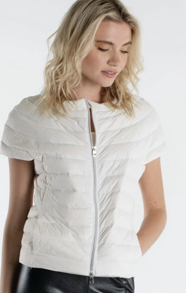 White Short Sleeve Down Jacket