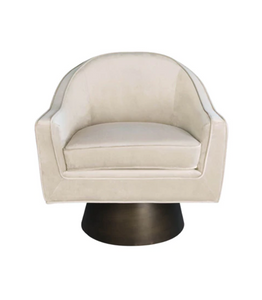 Cream Velvet Swivel Chair