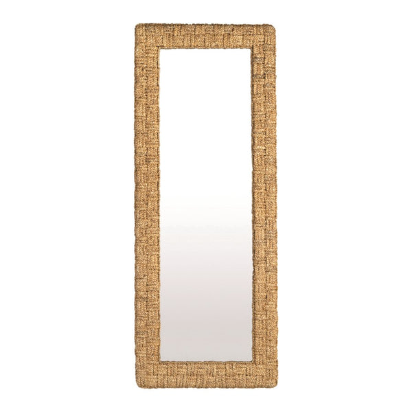 Cross Hatch Leaning Water Hyacinth Mirror