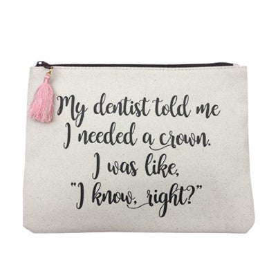 Crown Cosmetic Tassel Pouch