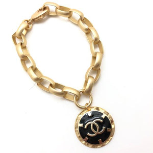 Shiver and Duke Chain Link Designer Bracelet in Black