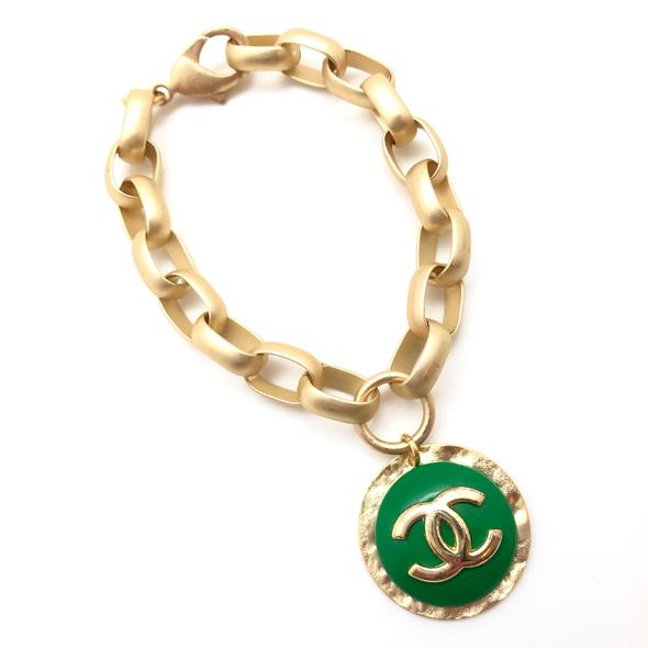 Shiver and Duke Chain Link Designer Bracelet in Green