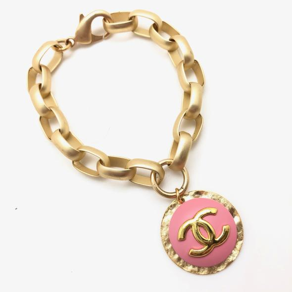 Shiver and Duke Chain Link Designer Bracelet in Pink
