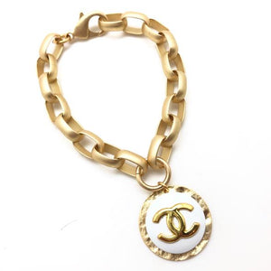 Shiver and Duke Chain Link Designer Bracelet in White