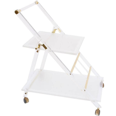 French Lucite and Brass Two-Tiered Dessert Cart on Casters from the 1950s