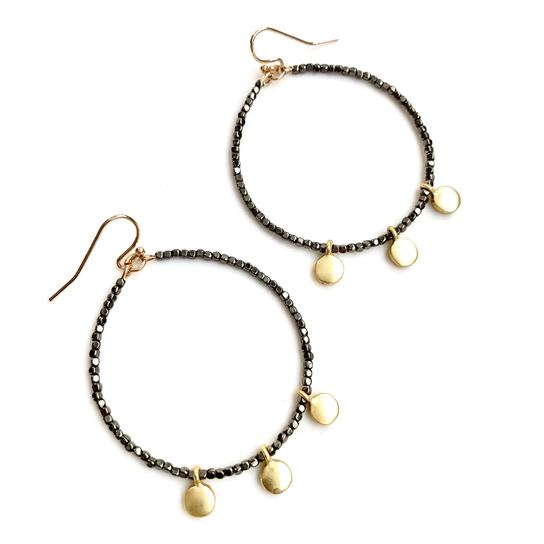 Erin Gray Design Disco Hoop Earrings in Gunmetal