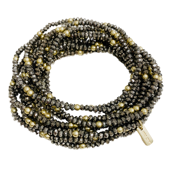 Disco Bracelet Stack - Dark Pyrite
