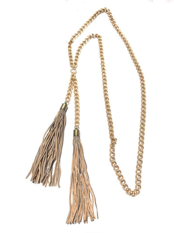 CV Designs Double Tassel Drop Necklace