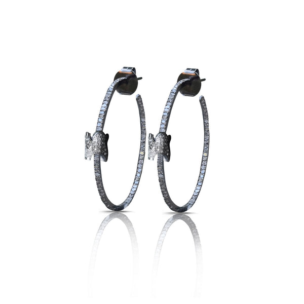 S. Carter Designs Full Pave Vertebrae Diamond Hoop Earrings