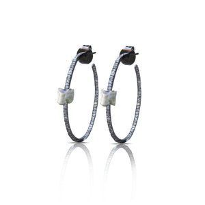 S. Carter Designs Vertebrae Diamond Hoop Earrings