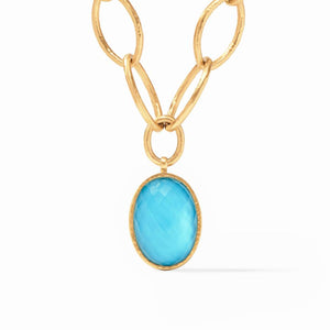 Julie Vos Fleur-de-Lis Statement Necklace in Pacific Blue