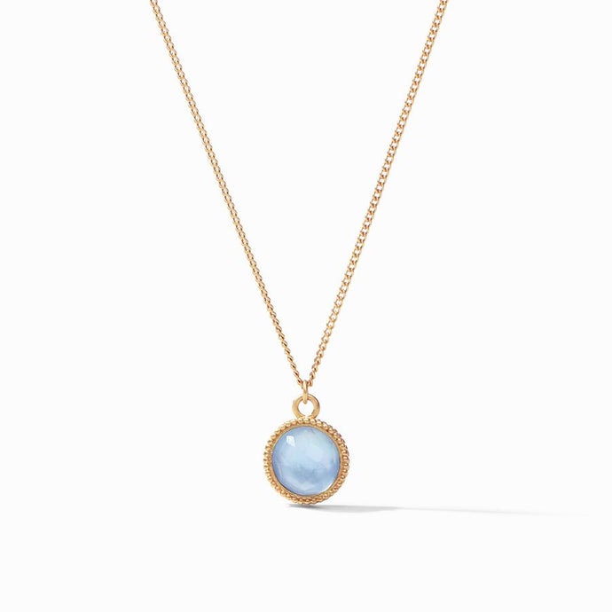 Julie Vos Fleur-de-Lis Solitaire Necklace in Chalcedony Blue