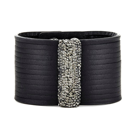 Elyssa Bass Designs Fringed Leather Bracelet with Crystallized Bar