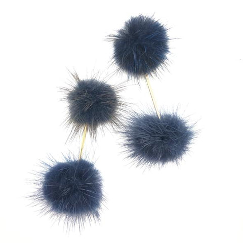 Shiver and Duke Double Mink Pom Pom Earrings