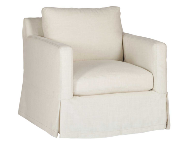 Linen Slipcovered Swivel Chair