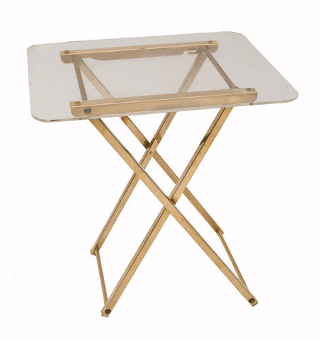 Brass and Lucite Folding Table