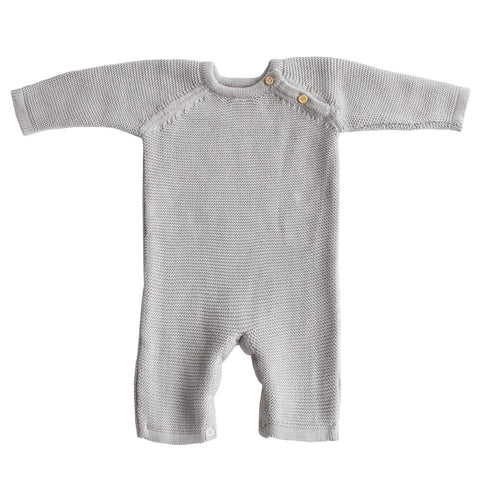 Organic Cotton Classic Knit Baby Romper in Gray