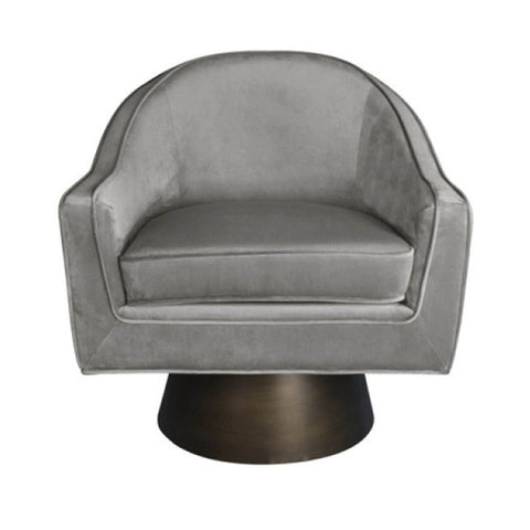 Gray Velvet Swivel Lounge Chair