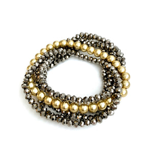 Erin Gray Design Gray Metallic and Gold Accent Stack Bracelet
