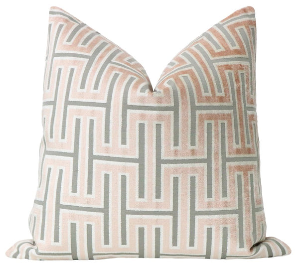 Grecian Blush Velvet Pillow