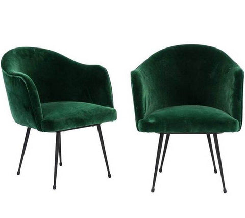 Pair of French Mid-Century Green Velvet Upholstered Tub Armchairs