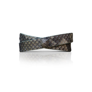 S. Carter Designs Green Python Double-Wrap Bracelet