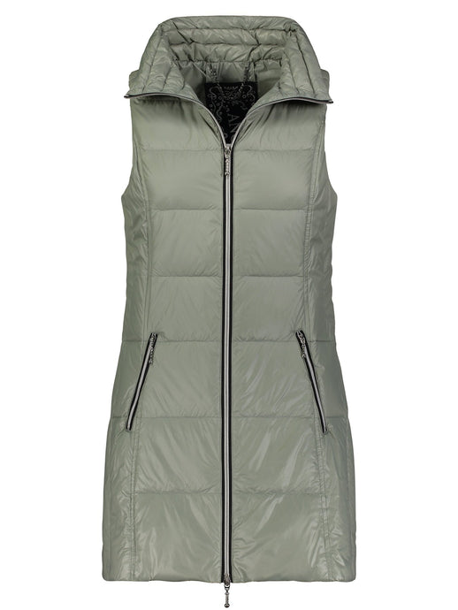 Long Nylon Vest in Ash Green