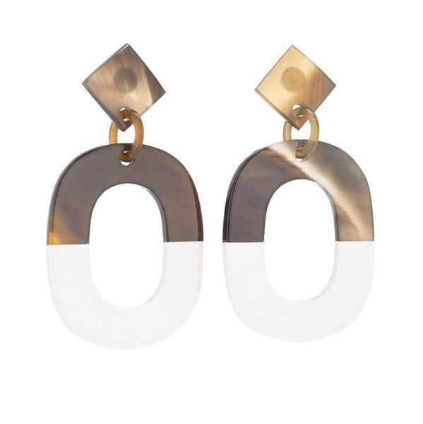 Buffalo Horn and Lacquer Flat Oval Earrings