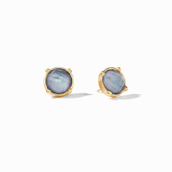 Julie Vos Honey Stud Earrings in Iridescent Slate Blue