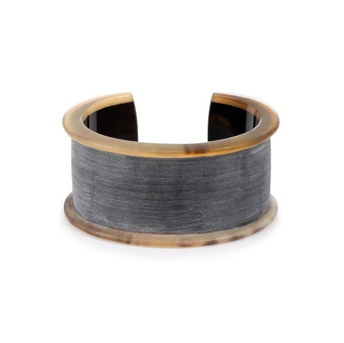 Matte Gray and Buffalo Horn Cuff