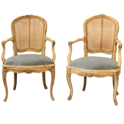 Pair of French 1890s Louis XV Style Armchairs with Cane Backs and Velvet Seat