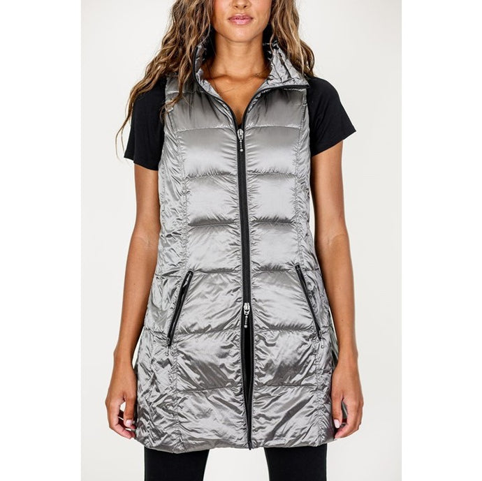 Long Metallic Down Vest in Platinum