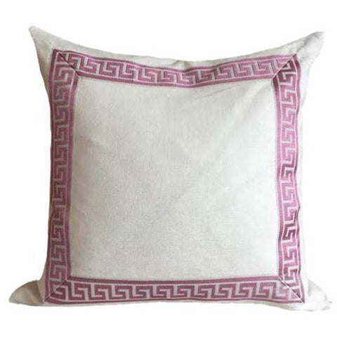 Ivy and Vine Ivory and Pink Greek Key Pillow