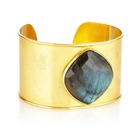 Elyssa Bass Designs Gold Cuff with Labradorite Stone Medallion
