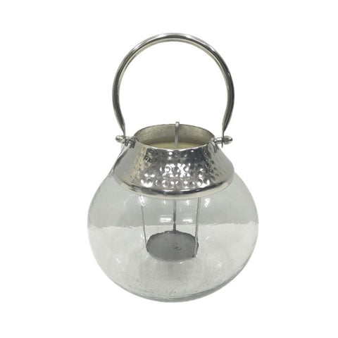 Glass and Hammered Orb Lantern